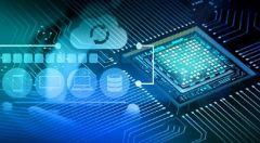 Ein Abbildung eines Prozessors auf blauem Hintergrund.