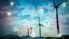 Smart energy Konzept: erneuerbare Energien und Internet of Things.