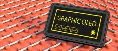 Ein Grafik OLED Display, das auf einem orangen Untergrund steht.
