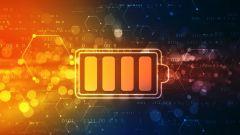 Dieses Bild zeigt ein Batterieversorgungs-Symbol vor einem digitalen Hintergrund.