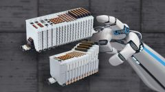 DINKLE Bussystem auf grauem Hintergrund mit Roboterarm.