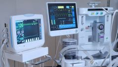 This image shows medical devices in a modern operating room.