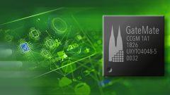 Ein Field Programmable Gate Array (FPGA) auf grünem Hintergrund.
