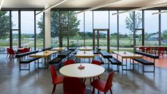 CODICO canteen with lots of seating and views to the Central Park.