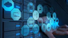Blaue, digital Symbole, die eine drahtlose Übertragung von Daten darstellen.