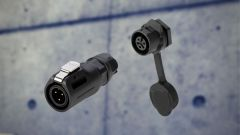 Two waterproof circular connectors for outdoor applications.