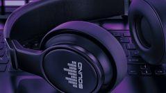Close-up of black headphones.