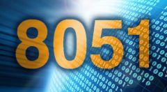 Große, orange Ziffern 8051 auf blauem Hintergrund.